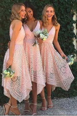 Newest Lace Spaghetti-Strap Sleeveless A-line Tea-Length Bridesmaid Dress_1