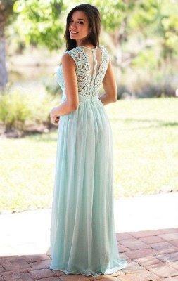 EMELY | Sheath Crew Sleeveless Floor-length Lace Top Chiffon Bridesmaid Dresses_8