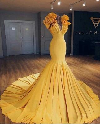 2019 Günstige Ginger Yellow Mermaid Prom Kleider auf Schaufensterpuppen   Rüschen Hofzug Sexy Abendkleider BA9299_3
