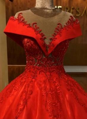 Красное бальное платье с открытыми плечами Quinceanera Платья | 2019 Кружевное Кристаллическое Пышное Вечернее Платье_4