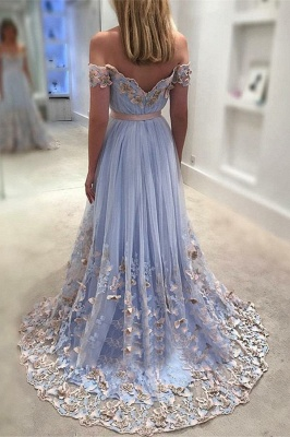 Gorgeous New in Off The Shoulder Evening Dresses | Tulle Flowers Open Back Prom Dress_3