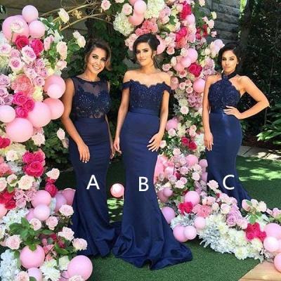 Elegant Mermaid Bridesmaid Dresses 3 Style Appliques Satin Long Prom Dresses_3