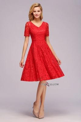 Элегантные платья с короткими рукавами V-образного вырезывания с поясом_2