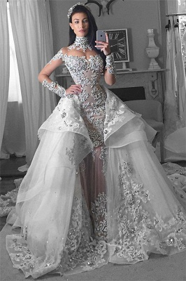 Glamorous Long Sleeves Tulle High Neck 2018 Bride Dresses Liques Wedding With Detachable Overskirt Qq0375