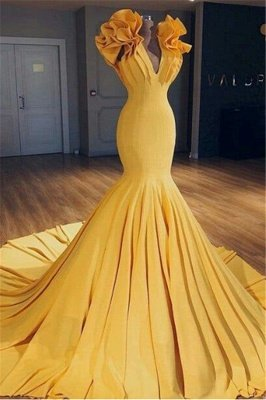 Cheap Ginger Yellow Fit and Flare Prom Dresses | Ruffles Court Train Wholesale Evening Gowns BA9299_2