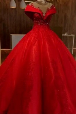 Scarlet Off The Shoulder Quinceanera Dresses | Lace Crystal Puffy Ball Gown Evening Dress