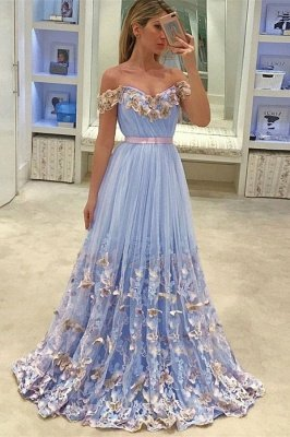 Gorgeous New in Off The Shoulder Evening Dresses | Tulle Flowers Open Back Prom Dress_1