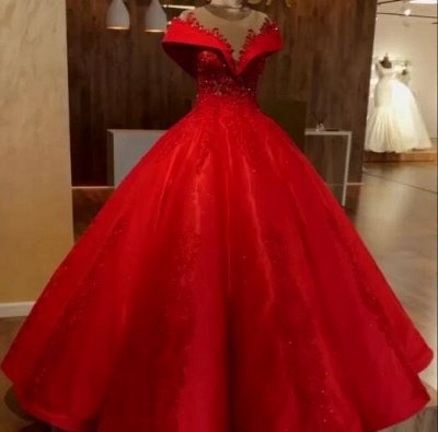 Scarlet Off The Shoulder Quinceanera Dresses | Lace Crystal Puffy Ball Gown Evening Dress_3