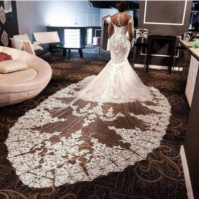 Luxury Long Sleeves Beading Appliques Rhinestones Mermaid Wedding Dress with Sweep Train_3