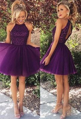 New Arrival Purple Halter Mini Homecoming Dress Tulle Open Back Plus Size Short Cocktail Dress_1