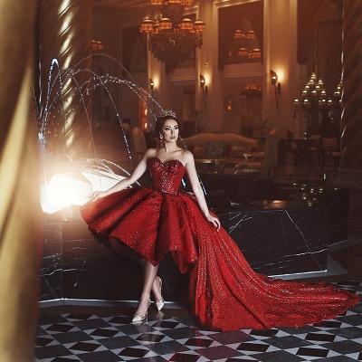 Glamorous Tulle Hi-Lo Prom Gowns | 2021 lentejuelas cariño vestidos de fiesta de noche de tul_3