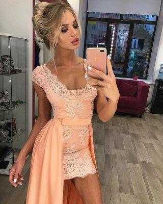Stunning Cap Sleeve Lace Detachable Short Prom Dress Homecoming Dress BA7167_1