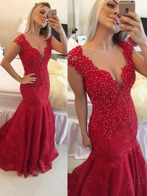 Delicate Red Mermaid Pearls Lace V-neck Cap-Sleeve Prom Dress