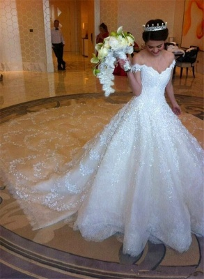 Latest Off Shoulder White Ball Gown Wedding Dress Popular Lace Court Train Bridal Gowns_2