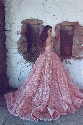 Gorgeous Sweetheart Pink Prom Dress Princess With Appliques_4