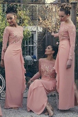 Bateau Long Sleeve Bridesmaid Dresses Pink Chiffon Long Sexy Dress for Maid of Honor_1
