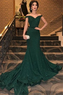 Elegant Dark Green Mermaid Evening Dresses | Sexy Off Shoulder Sequins Prom Dresses 2019 BC0792