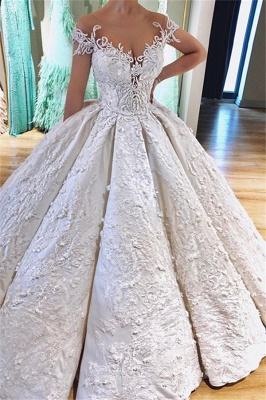 Luxury Off the Shoulder V-Neck Lace Appliques Ball Gowns Wedding Dress_1