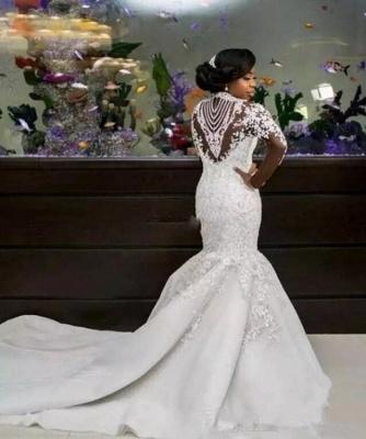 Gorgeous Beads Lace Appliques High Neck Wedding Dress   Mermaid Bridal Dress_3