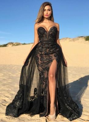 2021 Sexy Black Sweetheart Ballkleider | Perlen Side Slit Overskirt Günstige Abendkleid_1