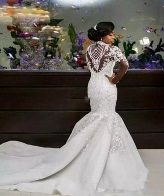 Gorgeous Beads Lace Appliques High Neck Wedding Dress | Mermaid Bridal Dress_3
