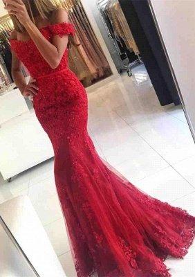 Elegante Abendkleider Lang Rot | Spitze Abendkleid Online Günstig_1