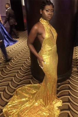 Halter Gold Sequins Sexy Prom Dresses | Backless Mermaid Evening Gown with Long Train FB0319_4