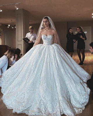 Glamorous Sexy Strapless Lace Appliques Ball Gown Wedding Dress_3