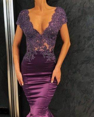 Robes de soirée sexy col en V à manches courtes 2021 | Sirène baguettes longues robes de soirée_4