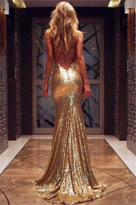 V-neck Open Back Sexy Evening Dresses Gold Sequins | Mermaid Formal Cheap Prom Dress BA3586