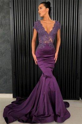 Sexy V-Ausschnitt Abendkleider 2021 | Perlen Abendkleider Meerjungfrau Lang_1