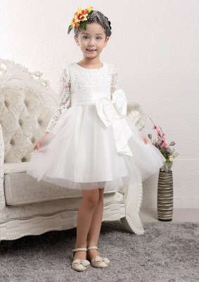 Lovely Tulle Lace Flower Girl Dress with Bowknot   Long Sleeve Zipper Little Girls Pageant Dresses
