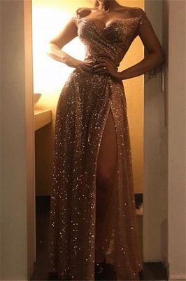 Off The Shoulder Sparkly Gold Sequins Evening Dresses | Sexy Side Slit Cheap Prom Dresses_1