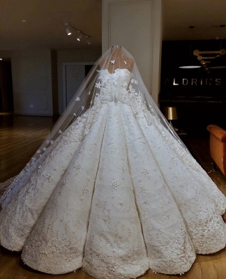 Luxury Strapless Lace Appliques Beading Sleeveless Ball Gown Wedding Dress_2