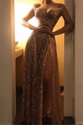 Off The Shoulder Sparkly Gold Sequins Evening Dresses | Sexy Side Slit Prom Dresses_1