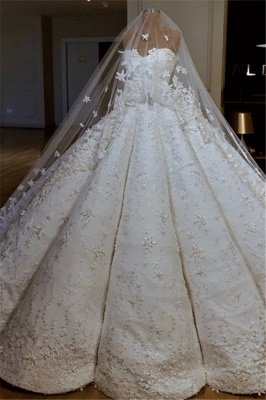 Luxury Strapless Lace Appliques Beading Sleeveless Ball Gown Wedding Dress