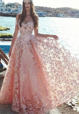 Elegant Off-the-Shoulder 2021 Evening Dress | Lace Appliques Prom Party Dress On Sale_1