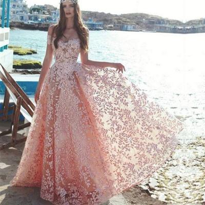 Robe de soirée élégante à l'épaule 2021 | Dentelle appliques robe de soirée de bal en vente_3
