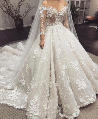 2/3 Sleeve Off-the-shoulder Ball Gown Wedding Dress with Train_2