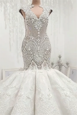 Luxury Sleeveless Appliques Rhinestones Mermaid Wedding Bridal Gowns