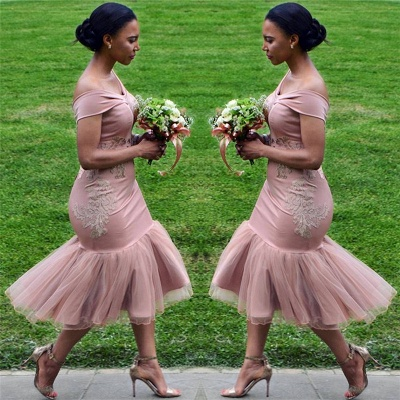Online Off The Shoulder Pink Bridesmaid Dress | Appliques Mermaid Sexy Short Bridesmaid Dress_3