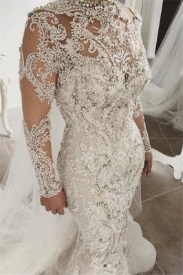Elegant Mermaid Long Sleeves Lace High Neck Crystal Wedding Dresses | Sexy Beading Bridal Gowns With Buttons