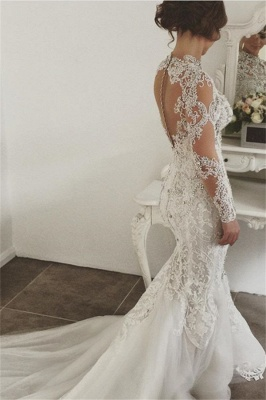 Elegant Mermaid Long Sleeves Lace High Neck Crystal Wedding Dresses | Sexy Beading Bridal Gowns With Buttons_3