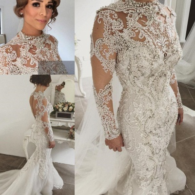Elegant Mermaid Long Sleeves Lace High Neck Crystal Wedding Dresses | Sexy Beading Bridal Gowns With Buttons_4