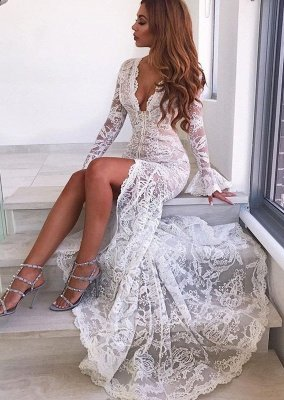Sexy Long Sleeve V-Neck Prom Dress | Lace Evening Party Dress With Slit_1