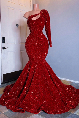 Unique One-shoulder long sleeves Sparkle Red keyhole Prom Dress