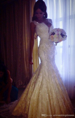 Sexy Mermaid V-neck Wedding Dress Sparkly Lace Bridal Gowns BO4457_3