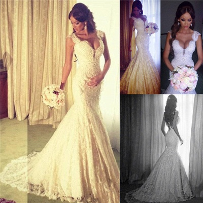 Sexy Mermaid V-neck Wedding Dress Sparkly Lace Bridal Gowns BO4457_6