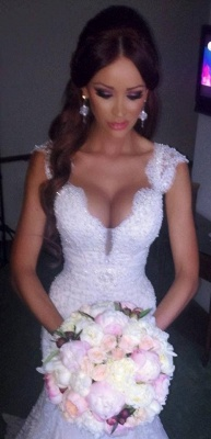 Sexy Mermaid V-neck Wedding Dress Sparkly Lace Bridal Gowns BO4457_4