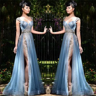 Stilvolle lange blaue formale Abendkleider Online | Tüll kristall sexy schlitz prom kleider billig_3